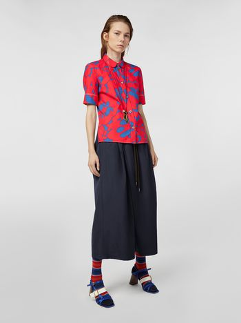 Marni Drawstring pants in poplin blue Woman
