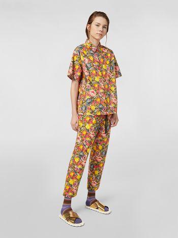 Marni Silk crepe pants with Ellebore print Woman