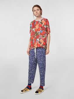 Marni Silk crepe pants with Lylee print Woman