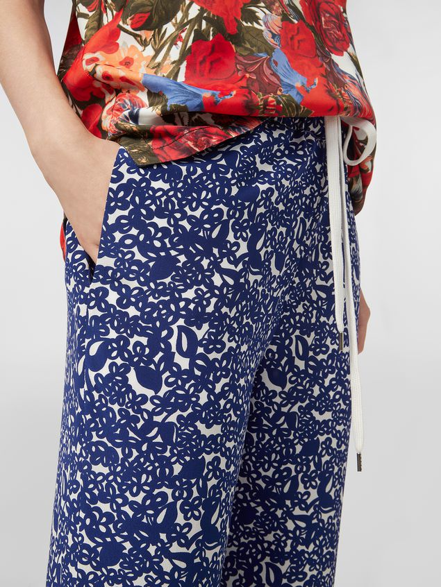 Marni Silk crepe pants with Lylee print Woman - 4