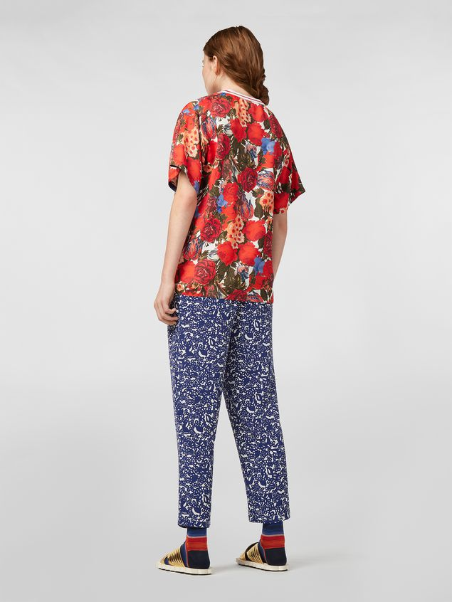 Marni Silk crepe pants with Lylee print Woman - 3