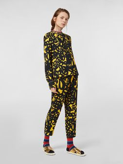 Marni Sablé viscose pants with Danna print Woman
