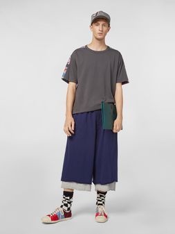 Marni Pants in slub jersey blue and gray Man