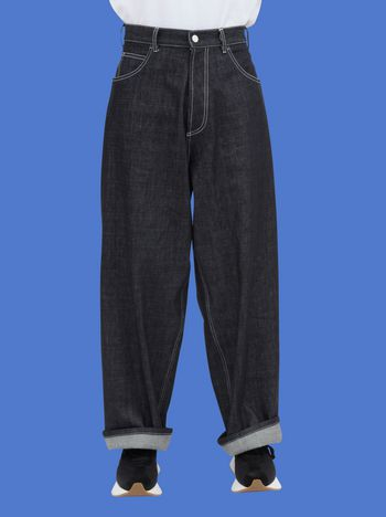 Marni 5-pocket pants in non-washed denim with Dance Bunny print Man