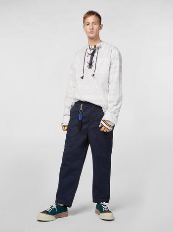 Marni Pantaloni in gabardine tecnico leggero blu Uomo