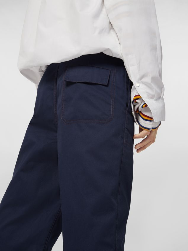 Marni Trousers in lightweight techno gabardine blue Man - 5