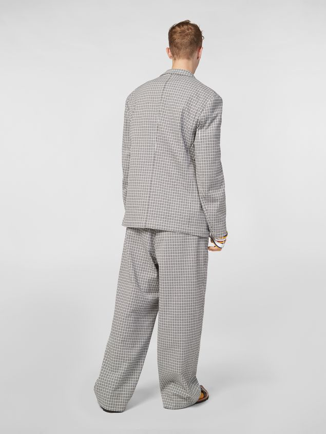 Marni Pants in micro check jacquard with back belt Man