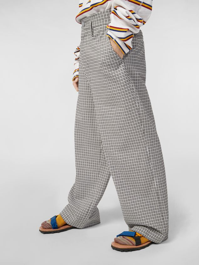 MARNI Pants Man Pants in micro check jacquard with back belt a