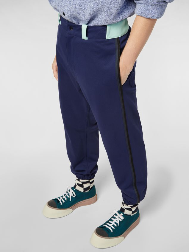 Marni Pants in cornflower blue techno jersey with contrast detailing Man - 5