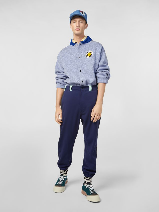Marni Pants in cornflower blue techno jersey with contrast detailing Man - 1