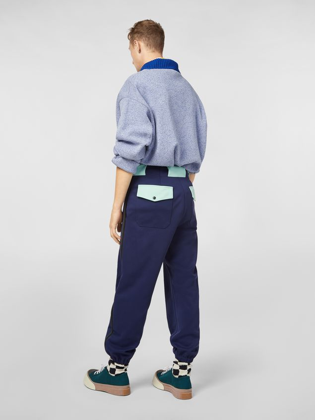 Marni Pants in cornflower blue techno jersey with contrast detailing Man - 3