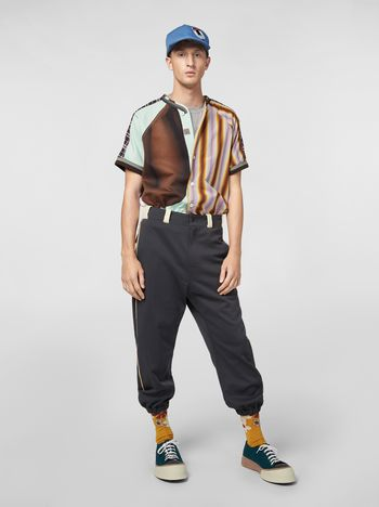 Marni Pants in gray nylon and cotton jersey with contrast detailing Man