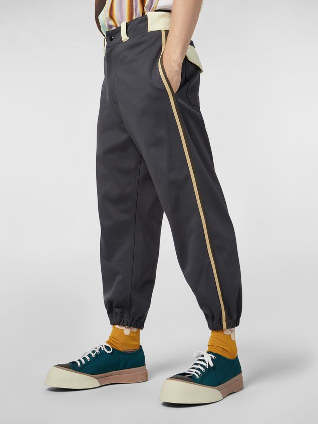 Marni Pants in gray nylon and cotton jersey with contrast detailing Man - 5