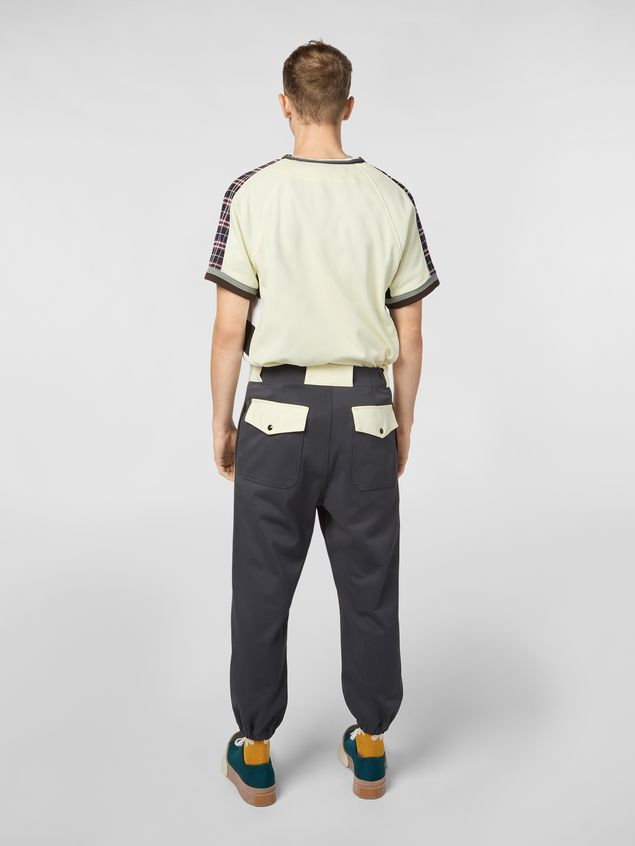 Marni Pants in gray nylon and cotton jersey with contrast detailing Man - 3