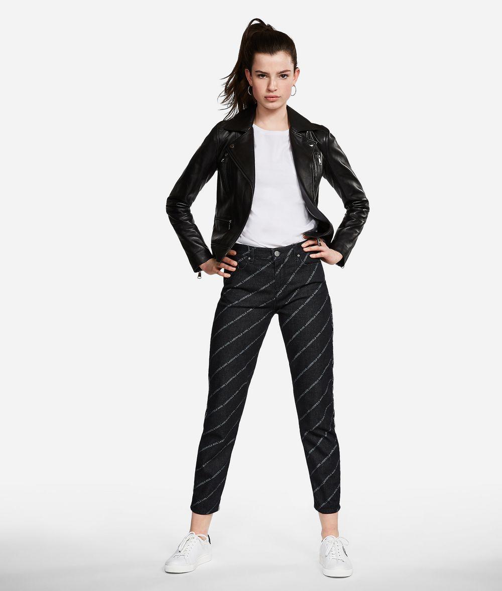 KARL LAGERFELD Jeans mit geradem Bein und Logoprint Hose Damen f
