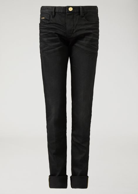 J02 slim-fit stretch denim jeans with gold selvedge