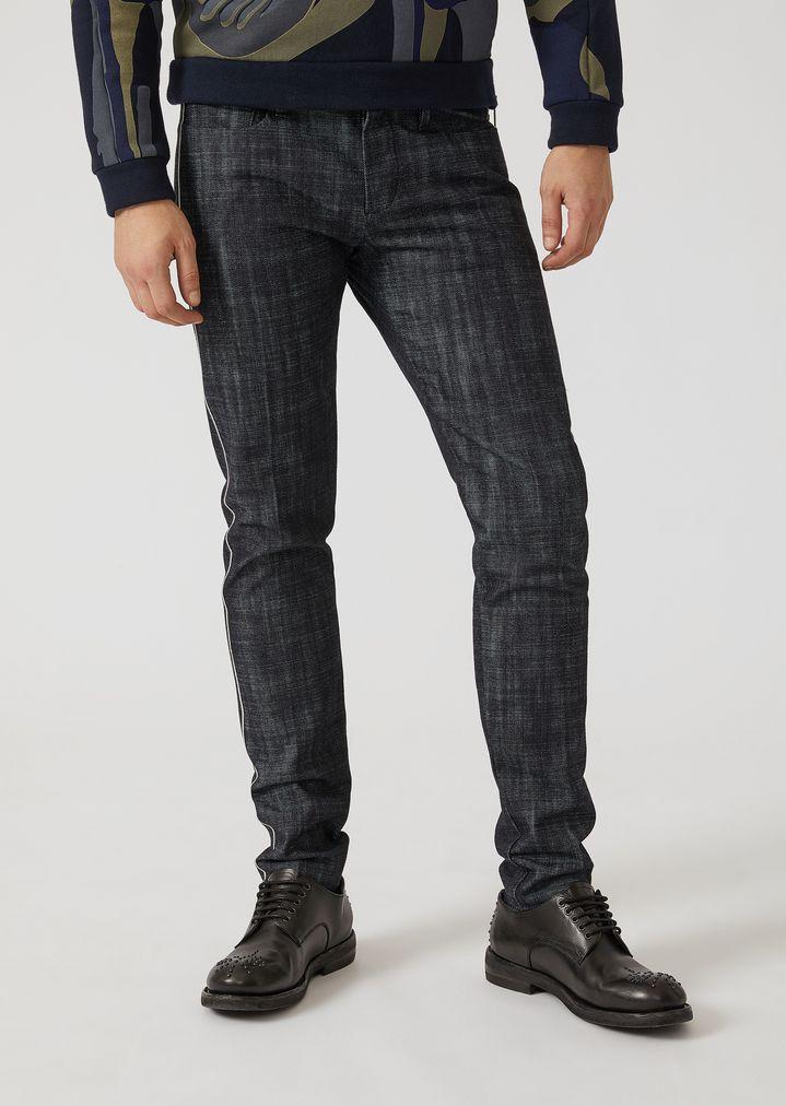 315e3371 Slim fit 12-oz denim jeans with selvedge   Man   Emporio Armani