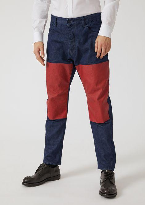 Loose fit Jeans J104 mit kontrastfarbenen Einsätzen an den Knien