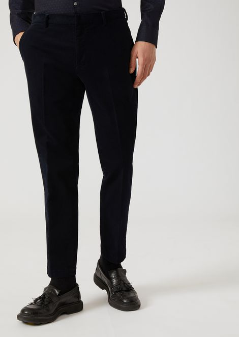Velvet Trousers With Diagonal Pattern And Centre Crease