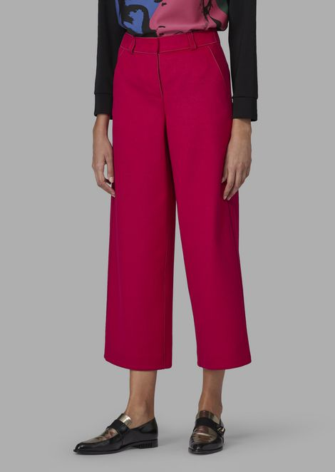 Virgin wool and angora cropped palazzo trousers