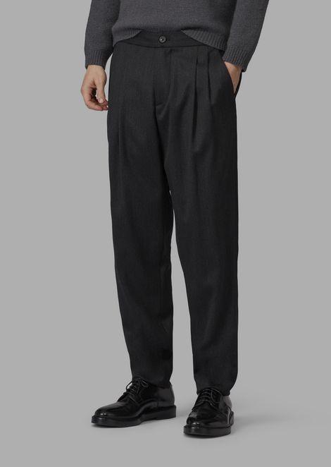 Baggy fit trousers in batavia stretch wool melange