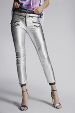 DSQUARED2 Goat Leather Multizip Edyta Pants Trousers Woman