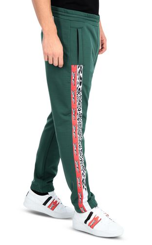 Sporty pants with leopard-print band