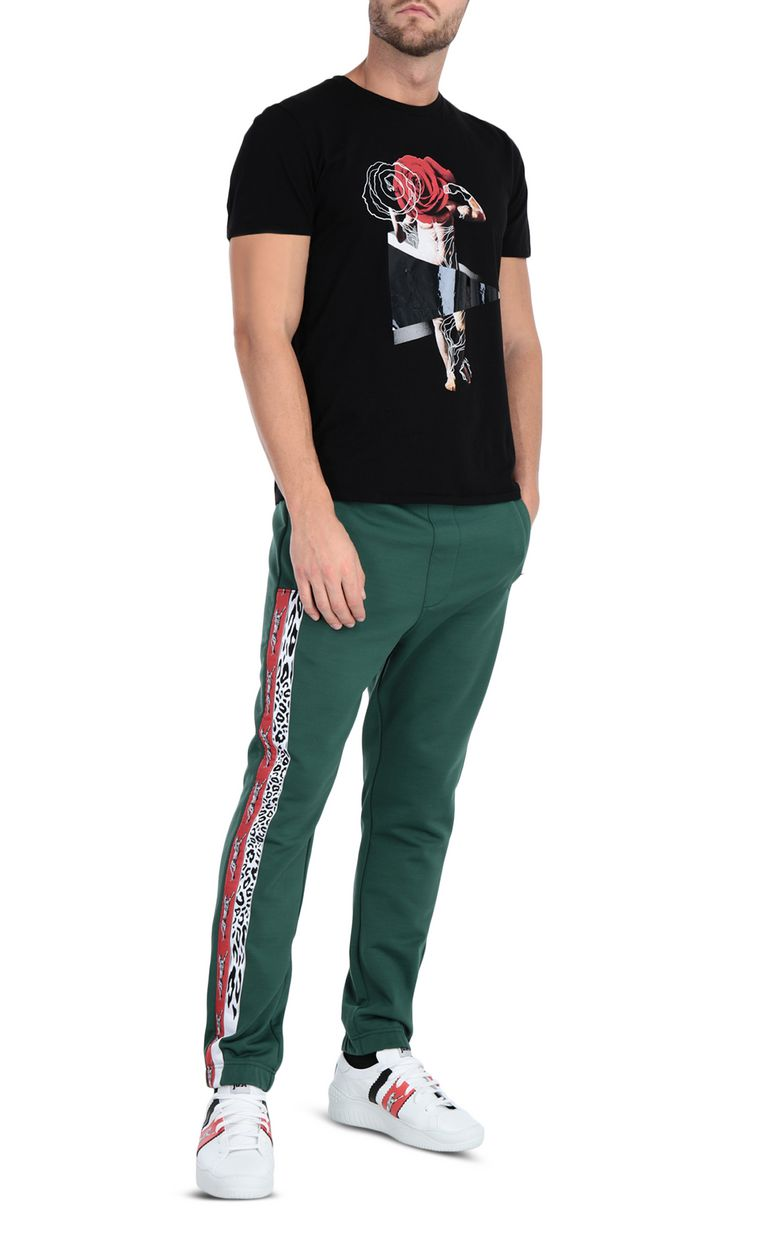 JUST CAVALLI Sporty pants with leopard-print band Casual pants Man d