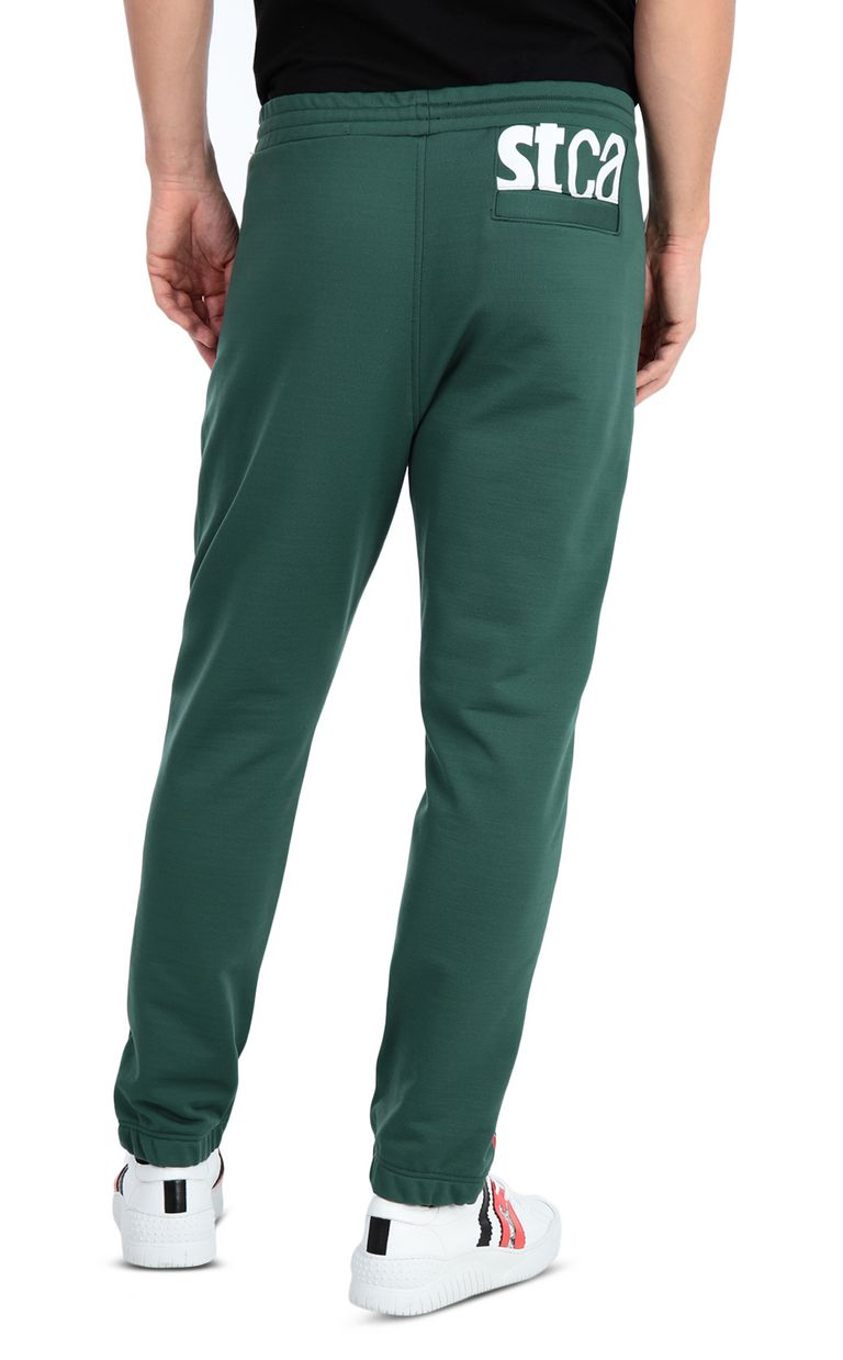 JUST CAVALLI Sporty pants with leopard-print band Casual pants Man r