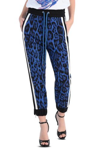 JUST CAVALLI Casual pants Woman Leopard-print band black trousers f