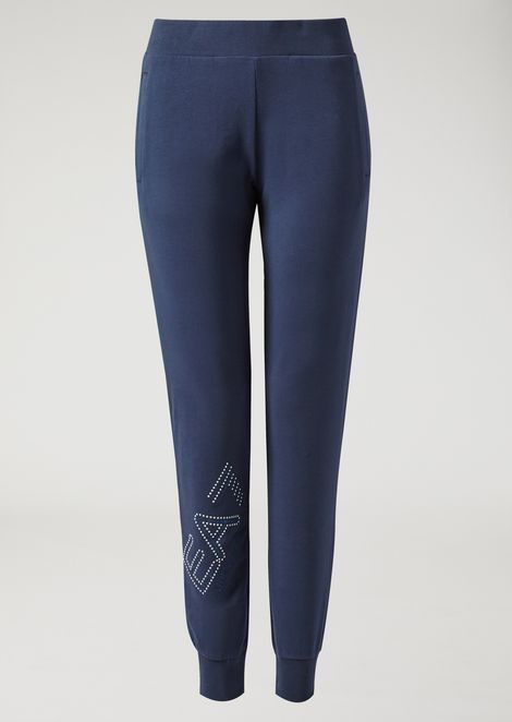 Pantaloni jogging in french terry con logo di strass