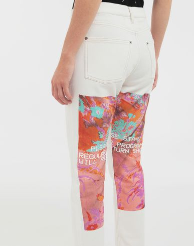 PANTS Digital Floral-print slim-fit denim pants