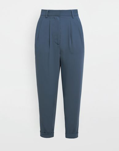 Wide-leg tapered pants