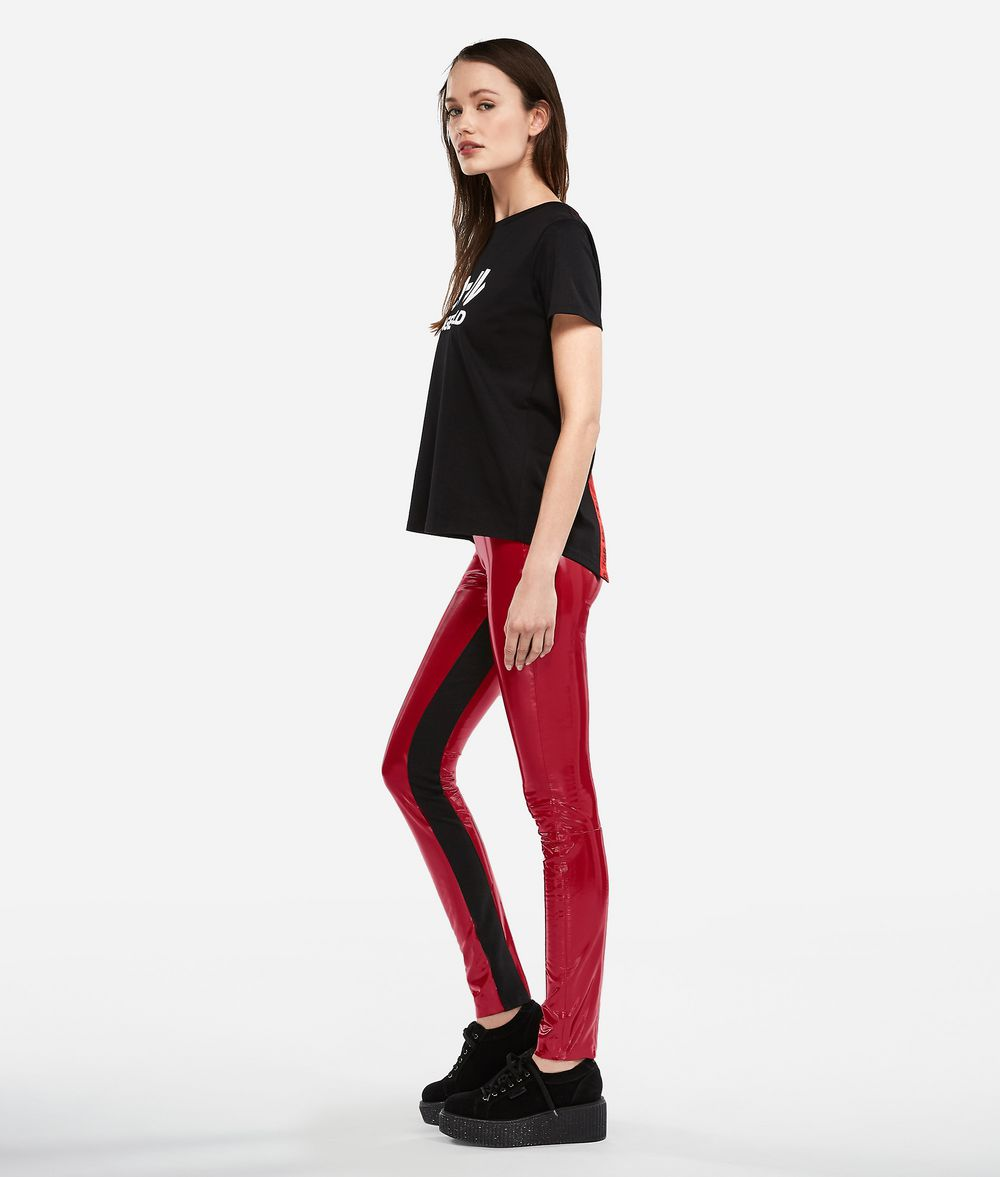 KARL LAGERFELD K/Tokyo Faux Patent Leather Leggings Pants Woman d