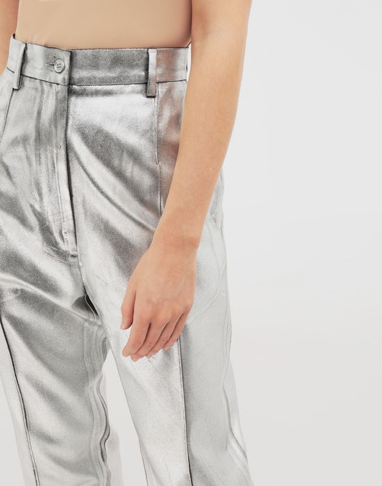 MM6 MAISON MARGIELA Silver coated casual trousers Casual pants [*** pickupInStoreShipping_info ***] a