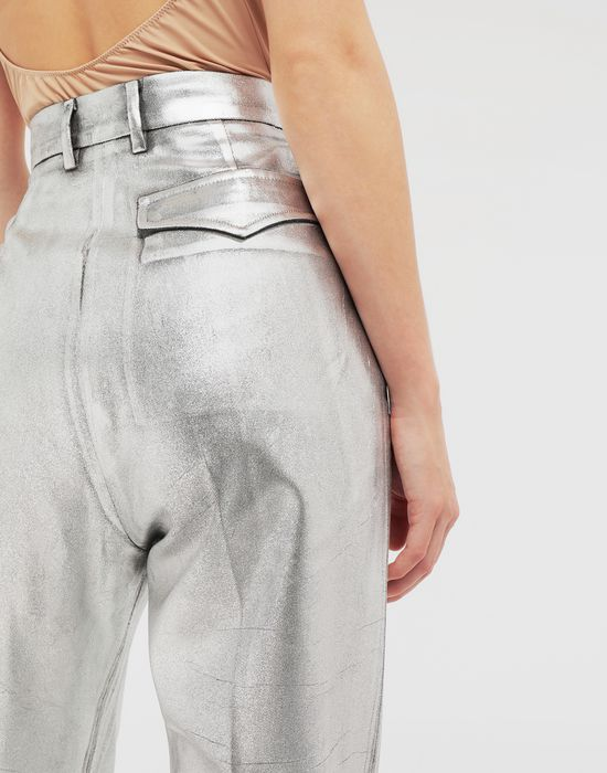 MM6 MAISON MARGIELA Silver coated casual trousers Casual pants [*** pickupInStoreShipping_info ***] b