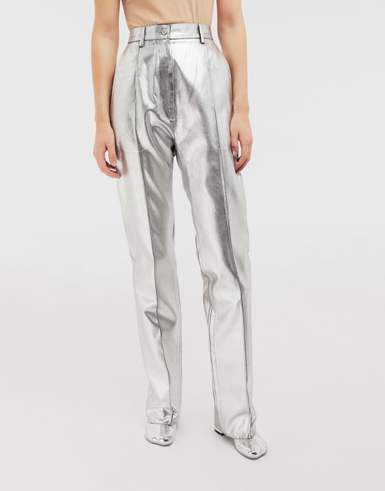 MM6 MAISON MARGIELA Silver coated casual trousers Casual pants [*** pickupInStoreShipping_info ***] r