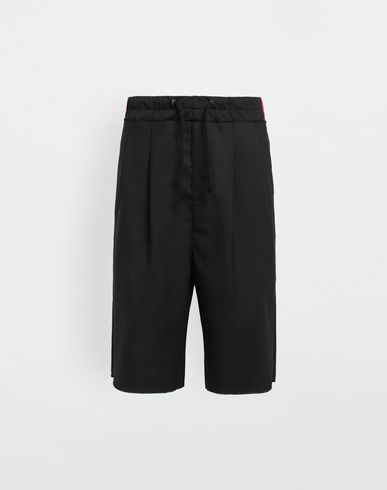 MAISON MARGIELA Shorts [*** pickupInStoreShippingNotGuaranteed_info ***] Spliced waistband wool poplin shorts f
