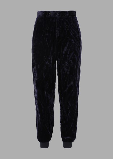 Flocked panne velvet pants with stretch hem