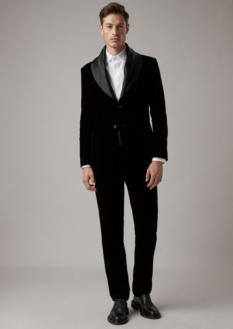 Velvet tuxedo pants with satin cummerbund