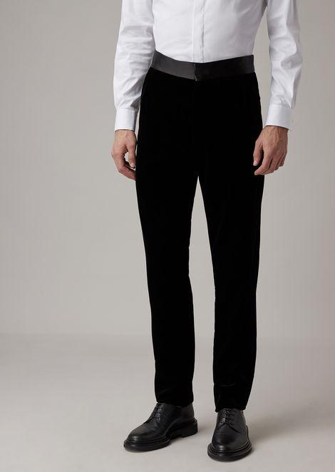 Pantalones de esmoquin de terciopelo con banda de raso