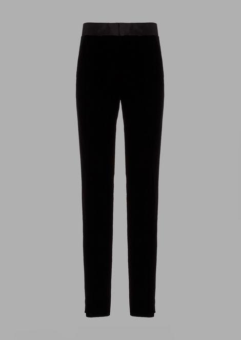 Velvet tuxedo trousers with satin cummerbund