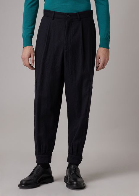 Oversized tumbled wool flannel pants with a pocket on the leg