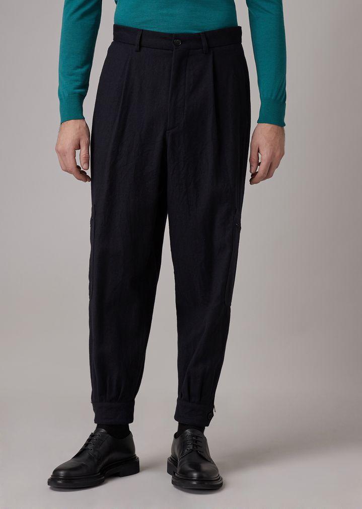 technologies sophistiquées haut de gamme pas cher grande vente au rabais Pantalon coupe ample avec poche sur la jambe en flanelle de ...