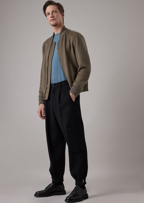 Oversized tumbled cashmere flannel trousers with a pocket on the leg