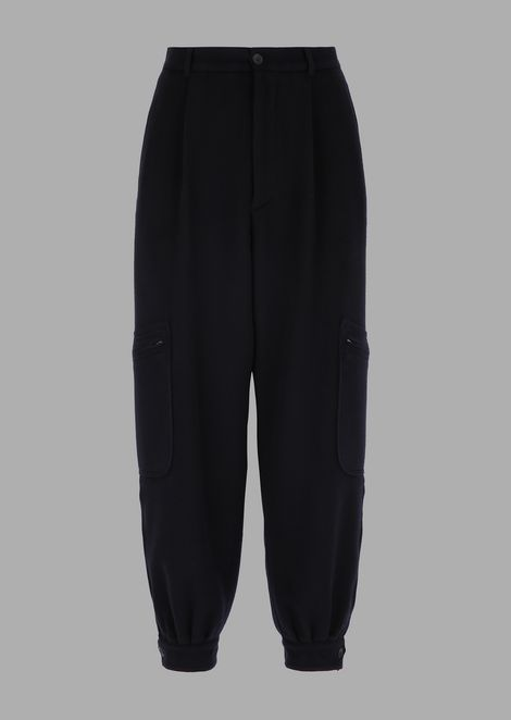 Oversized tumbled cashmere flannel pants with a pocket on the leg