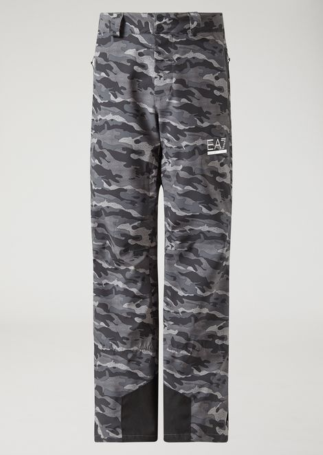 Technical ski trousers with camouflage print