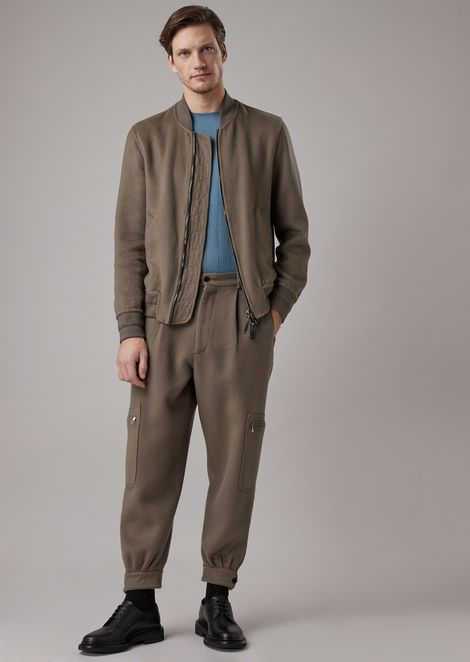 Oversized double garment-washed cloth pants with a pocket on the leg