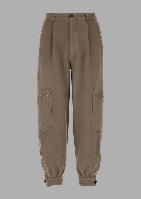 Oversized garment-washed double cloth trousers with a pocket on the leg