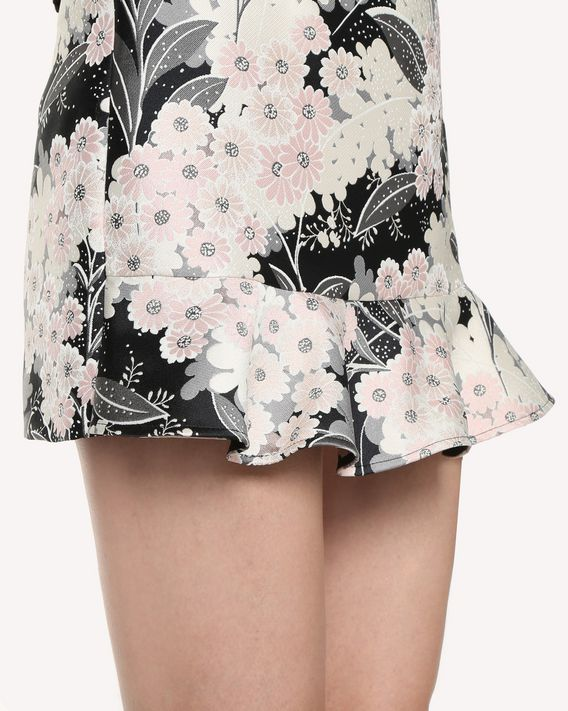 REDValentino Lunar Daisy brocade shorts with ruffle detail